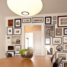 Gallery Wall in a mid-century dining room.