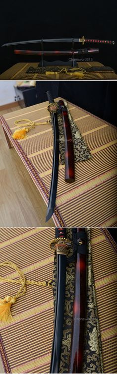 full tang carbon steel black blade japanese Katana samurai sword
