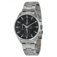 Seiko Black Dial Chronograph Stainless Steel Men's Watch SNDC81