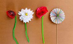 Four paper flowers on Kidspot