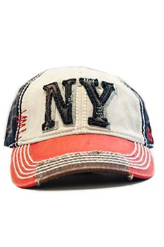 New York 1625 Vintage Baseball Cap (6 Styles Available) (Red/White/Blue)
