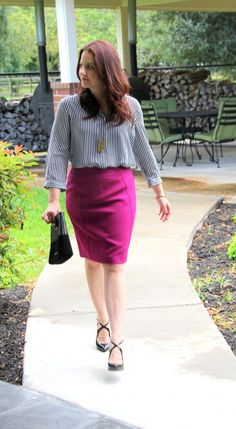 Work Outfit- black and white stripes with pink pencil skirt | Lady in Violet