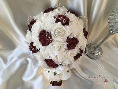 Burgundy Glitter Rose With Pearl Loops & Pearl Diamante Brooch