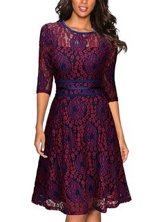 Miusol Womens Vintage Floral Lace 2/3 Sleeve Cocktail Evening Party Dress, Dark Red and Purple, X-Large at Amazon Women's Clothing store: