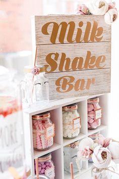 Milk Shake Bar from a Rose Gold & Blush Pink Unicorn Party on Kara's Party Ideas | KarasPartyIdeas.com (12)