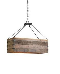 Hanging wooden chandelier style box for light globes or candles.
