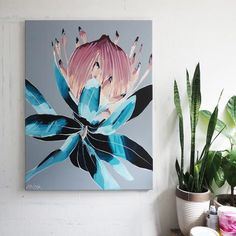 PROTEA PREVIEW – Anya Brock Art Floral, Abstract Flower Art, Protea Art, Protea Flower, Mural Wall Art, Diy Wall Art, Home Wall Art, Art And Illustration, Australian Native Flowers