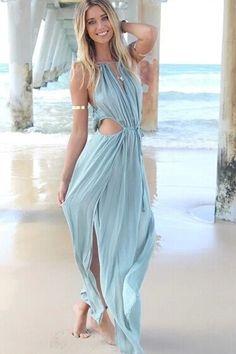 Bleu taille Hollow-out sans manches Beach Maxi Dress