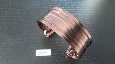 Bracelet manchette en fil aluminium plat marron. : Bracelet par cameleange