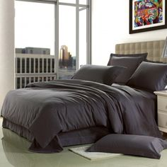 Luxury Solid Deep Gray Pure Colored Vintage Simply Chic Western Style Personalized Brushed All Cotton Mens Full, Queen Size Bedding Sets