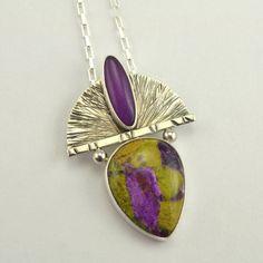 Reserved for Patricia C - Purple Stone Pendant - Metalsmith Pendant - Artisan Jewelry - Silver Pendant
