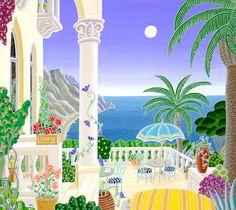 Thomas McKnight - Ravello Balcony, hand-signed serigraph - Visit to purchase Thomas Mcknight, Meditation Images, Art Thomas, Great Works Of Art, Naive Art, Art Images, Art Inspo, Ramadan, Folk Art