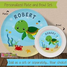Personalized Sea Turtle Plate and Bowl Set - Personalized Melamine Children Plate and Cereal Bowl - Kids Dishes for Mealtime - Under the sea
