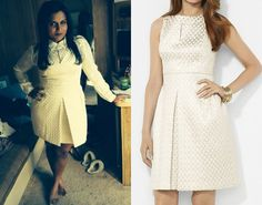 Mindy Lahiri is going all Olivia Pope in this white on white outfit coming up on The Mindy Project! Lauren by Ralph Lauren Metallic Dress
