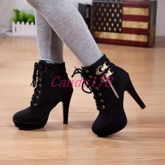 Boots fashion boots, platform ankle boots, shoe boots, lace up ankle bo Lace Up High Heels, Black Pumps Heels, High Heel Boots, High Heel Pumps, Womens High Heels, Heeled Boots, Stiletto Heels, Shoe Boots, Women's Boots