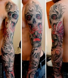 Sleeve, arm, tattoo, skull