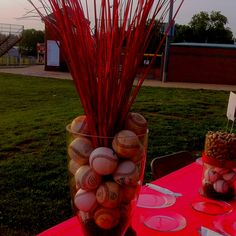 Or table decor for banquet softball party, baseball birthday, baseball part Softball Party, Baseball Birthday, Baseball Party, Softball Wedding, Softball Stuff, Baseball Mom, Baseball Centerpiece, Sports Banquet Centerpieces, Party Centerpieces