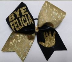 Bye Felicia Black Gold Cheer Bow