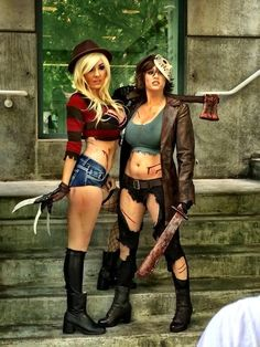 50 Hot Costume Ideas For Halloween - Style Estate - Jessica Nigri and Abby Dark-Star in Freddy and Jason themed costumes.