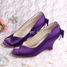 (13 Colors)Best Selling Shoes Purple Wedge Heels Sandals Shoes Open Toes for Wedding Free Shipping(China (Mainland))
