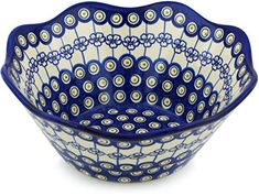Polish Pottery Fluted Bowl 11-inch Flowering Peacock