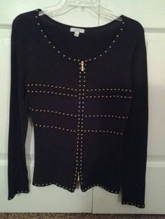 CACHE BRAND TOP SZ M BROWN ZIPPER DOWN GOLD STUDDED  DETAIL TOP #Style #Fashion #Deal