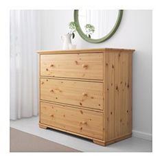 IKEA - HURDAL, Cómoda de 3 cajones, , Gracias a las variaciones naturales de la veta y a los nudos, cada mueble de madera de pino macizo es único.Los cajones grandes proporcionan un amplio espacio para guardar cosas.El cajón se desliza suave y uniformemente sobre las guías de madera.Es de madera maciza, un material natural bonito y resistente.Puedes organizar el interior con las cajas SVIRA, juego de 3.