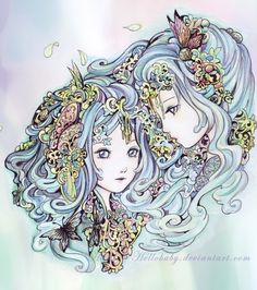 Zodiac - Gemini by Hellobaby on deviantART Gemini Art, Capricorn Moon, Gemini Zodiac, Astrology Zodiac, Gemini Sign, Gemini Woman, 12 Zodiac, Aquarius, Zodiac Art