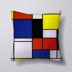 Mondrian geometric Vintage - Cushion Fabric Panel Or Case or with Filling