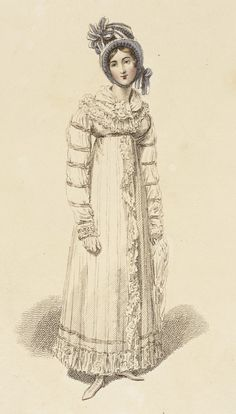 Morning walking dress, fashion plate, hand-colored engraving on paper, published London, September 1816.