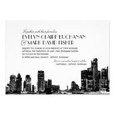 Wedding Invitation   Art Deco Detroit Skyline