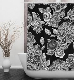 Set a neutral tone to your bathroom with this fantastic black and white sugar skull shower curtain. Sugar Skull Decor, Sugar Skulls, Gothic Bathroom, Bling Bathroom, Sugar Skull Shower Curtain, Black Shower Curtains, Small Bathroom, Bathroom Stuff, Bathroom Goals