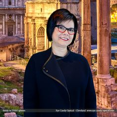 Sandy loves ancient Rome wearing her new designer glasses by Theo eyewear. Eye Candy is the Coliseum of Eyewear fashion!  Eye Candy Optical Cleveland – The Best Glasses Store! (440) 250-9191 - Book an Eye Exam over the Phone www.eye-candy-optical.com/Vision_and_Exams - Book an Eye Exam Online!