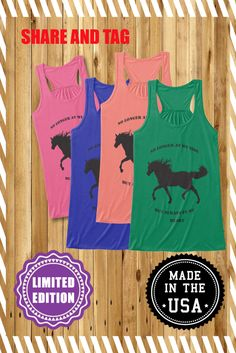 """""""Always in my heart""""Limited Edition On sale now! These soft, flowy tank tops are beautifully feminine, perfect for the horse riding or outdoor workouts..Not sold in stores.Horse Lovers get your  tank top t shirt design.Multi colors.Choose yours."""