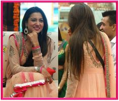 Gauhar Khan wears a beautiful peach anarkali by Kanika Kedia.