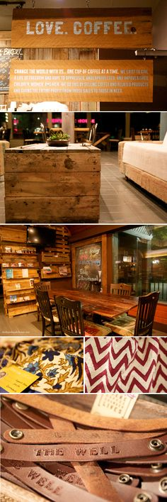 signage and tables of barn wood
