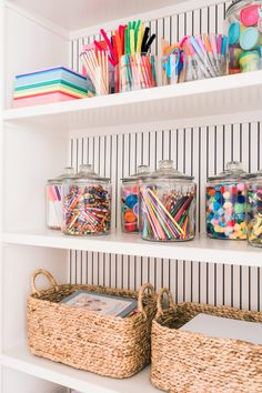 tips and ideas for how to organize a craft closet // arts + crafts storage ideas and inspiration that doubles as colorful playroom decor Playroom Organization, Home Organization Hacks, Storage For Playroom, Classroom Storage Ideas, Girls Room Storage, Kids Craft Storage, Playroom Shelves, Craft Shelves, Baby Storage