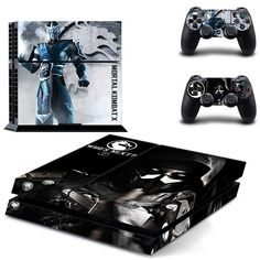 FREE SHIPPING! PS4 Mortal Kombat X Sub-Zero Decal Stickers Skin For Sony Playstation 4 Console  2 controllers