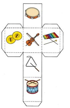 Music Lessons For Kids, Music For Kids, Preschool Music, Teaching Music, Music Activities, Toddler Activities, Cube Template, Instrument Craft, Music Worksheets