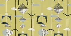 Mobiles (210216) - Sanderson Wallpapers - A classic design of random mobile shapes in bold colour combinations. Shown in the black on citrus with white highlights. Other colourways available. Please request sample for true colour match. Wide width