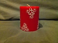 HennaInspired Red Peacock Pillar Candle by HennaByNeha on Etsy, $6.95