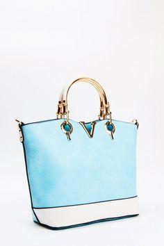 Gold Metal Trim Faux Leather Tote Handbag