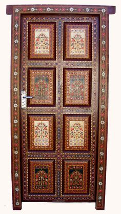 antique orient vintage carved wooden door  gate by KabulGallery