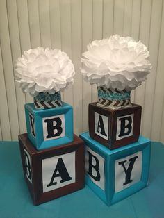 I made these building blocks centerpieces for a baby shower out of paper plates that I taped together and added cut out letters.