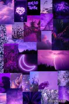 Neon purple aesthetic collage wallpaper
