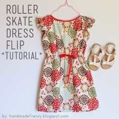Handmade Frenzy: Roller Skate Dress Flip - TUTORIAL (use sleeveless dress pattern and add shoulder ruffle) Kids Patterns, Sewing Patterns Free, Free Sewing, Clothing Patterns, Free Pattern, Sewing Diy, Kids Clothes Patterns, Pattern Sewing, Sewing Kids Clothes