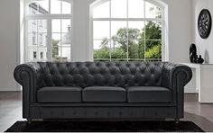 This Classic Scroll Arm Chesterfield Sofa features a classy modern classic design. Our Classic Scroll Arm Chesterfield Sofa comes wrapped in carefully selected bonded leather upholstery. The beautiful tufted design to creates a perfectly sophisticated Best Leather Sofa, Black Leather Sofas, Black Sofa, Bonded Leather, White Sofas, Brown Sofa, Brown Brown, Chesterfield Style Sofa, Sofa Couch
