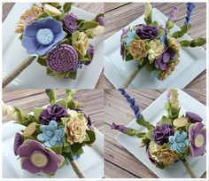 Felt Bouquet Wedding Bouquet Custom Garden by SugarSnapBoutique, $145.00