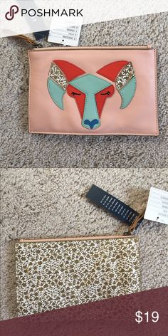 Miss Albright Aries Clutch New with tags from anthropologie, small stain on back Anthropologie Bags Clutches & Wristlets