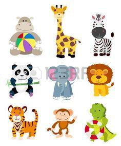 conjunto de animales de dibujos animados vector de la selva Foto de archivo